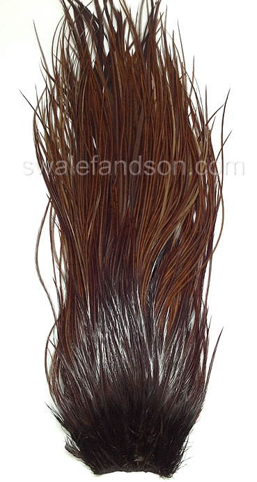 Dyed Brown Genetic Rooster Saddle Patches | Wholesale Rooster Feathers
