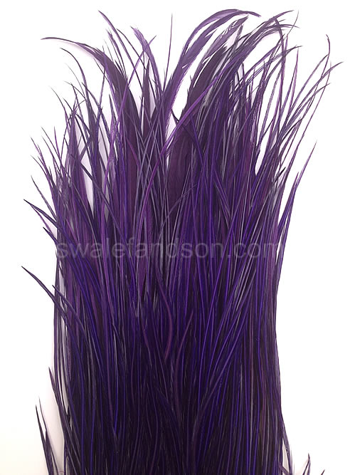 Dyed Purple Genetic Rooster Saddle Patches | Rooster Feathers for Sale